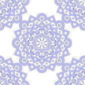 Blue Indian Vintage Ornament. Blue mandala Seamless pattern. Vector illustration . — Stock Vector