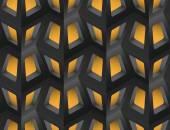 Window Lattice with Light 3d Seamless Pattern, Vector Illustration. — Stockvector