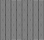 Abstract Square Bases Black and White Seamless Pattern, Vector Illustration. Motion Illusion Appear. — Stok Vektör