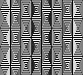 Abstract Square Bases Black and White Seamless Pattern, Vector Illustration. Motion Illusion Appear. — Vecteur