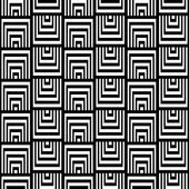 Abstract Square Bases Black and White Seamless Pattern, Vector Illustration. Motion Illusion Appear. — Stock vektor