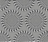 Rotating Circles, Optical Illusion, Vector Seamless Pattern. — Stock Vector