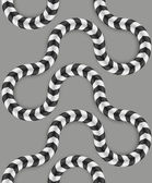 Zig Zag Stripes, Optical Illusion, Vector Seamless Pattern. Some Motion Appear. — Stockvektor