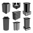 3D Office Buildings Icons. Vector Illustration. — Stock Vector #55750283