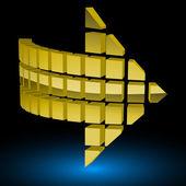Halftone Glossy Golden Arrow. Vector Illustration. — Stock Vector