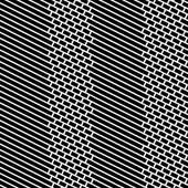 Diagonal Bricks and Stripes Black White Vector Seamless Pattern. — 图库矢量图片