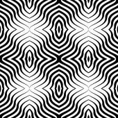 Op Art  Black White Vector Seamless Geometric Pattern. Lines Only — Stock Vector