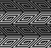 3D Rhombus Spirals Geometric Optical Black and White Vector Seamless Pattern — Stock Vector