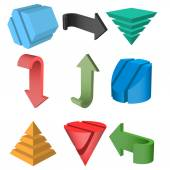 Set of 3D Geometric Shapes and Arrows, Vector Illustration — Stock Vector