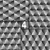 Striped Shells Black White Vector Seamless Pattern, Set of 4 — Stock Vector
