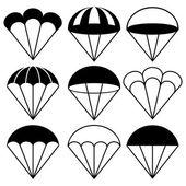 Parachute Icons Set, Vector Illustration — Stock Vector