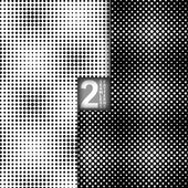 Halftone Dots Style Vector Black White Seamless Patterns, Set of 2 — Stock Vector