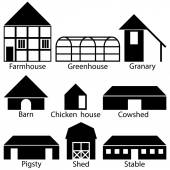 Farm Buildings Icons, Vector Illustration — Stock Vector