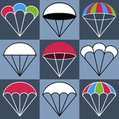 Colored Parachute Icons Set, Vector Illustration — Stock Vector