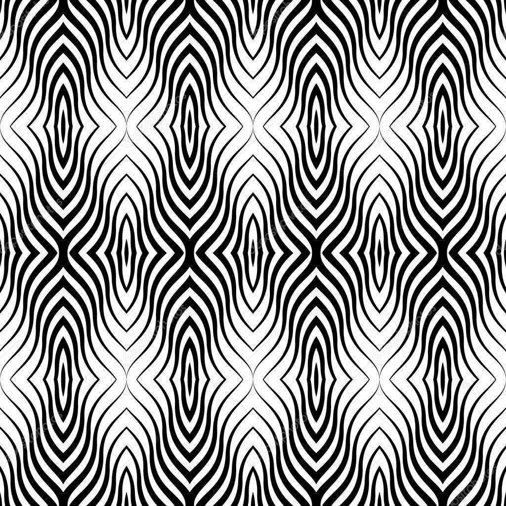 Op art black white vector seamless geometric pattern for Black and white only