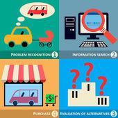 Buyers Behavior, Decision Making Process Concept, Vector Illustration. — Stock Vector
