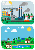 Urban and Country Landscapes, Vector Flat Illustrations — Stock vektor