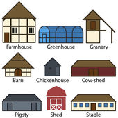 Farm Buildings Flat Icons, Vector Illustration — Vettoriale Stock