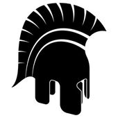 Ancient Helmet, Black White Vector Illustration — Stok Vektör