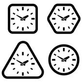 Clock Icon, Square, Hexagon, Triangle and Circle Shapes, Vector  — Stock Vector
