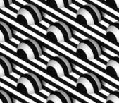 Striped 3D Hemisphere Hills Vector Seamless Pattern — Stock Vector