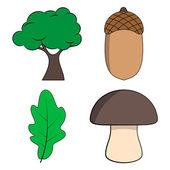 Oak Tree, Oak Leaf, Acorn and Mushroom Vector Illustration — Stock Vector