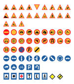 Vintage Road Signs Set, Vector Illustration — Vector de stock
