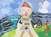 Rysunek dziecka na farby biały papier i ołówek ilustracja — Zdjęcie stockowe