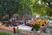 India. Bodhgaya. December 2013. Monlam - the biggest buddhist  festival of the year. Diamond way lineage of tibetan buddhism. — Stock Photo