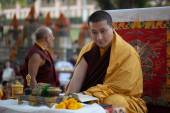 India. Bodhgaya. December 2013. Monlam - the main buddists festival. The head of Karma Kajyu Lineage of Diamond Way Buddhism His Holines the 17 Gyalwa Karmapa Trinley Thaye Dorje — Stock Photo