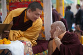 India. Bodhgaya. December 2013. Monlam - the main buddists festival. The head of  Karma Kajyu Lineage of Diamond Way Buddhism  His Holines 17 Karmapa Trinley Thaye Dorje with Beru Khyentse Rinpoche — Stock Photo