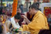 India. Bodhgaya. December 2013. Monlam - the main buddists festival of the year. Karmapa 17. Diamond way buddhism. Kagyu Monlam. — Stock Photo