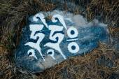 Mantra stone on the path in Himalayas. Trekking around Annapurna. — Foto Stock