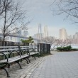 Постер, плакат: Brooklyn Bridge Park Bench and Walkway with Manhattan Skyline