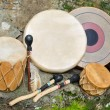 Group of four, Native American Drums, with Drum Sticks. — Stock Photo #55933551