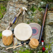 Native American Drums with Rain Stick and Spirit Chaser. — Stock Photo #55933579