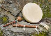 Native American Drum, Flute and Shaker. — Photo