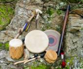 Native American Drums with Rain Stick and Spirit Chaser. — Stock Photo