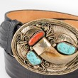 Gold, Bear Claw and Turquoise Belt Buckle. — Foto Stock #55978787