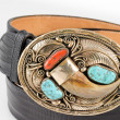 Gold, Bear Claw and Turquoise Belt Buckle. — 图库照片 #55978787