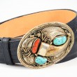 Gold, Bear Claw and Turquoise Belt Buckle. — Foto Stock #55978811