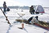 Winter fishing in Russia — Stock Photo