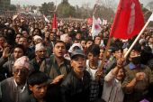 Action communists CPN-UML against the Maoist party in Kathmandu — Stock Photo