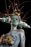 Model on a body-art festival — Stock Photo
