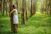 Romantic woman in the forest — Stock Photo