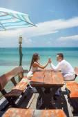 Romantic love date on the sea — Stock Photo