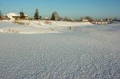 冬天,雪在西伯利亚村庄 Laptevka — 图库照片