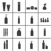 Cosmetic flasks icons — Stock Vector