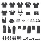 Vector Set of Clothes Icons — Stock Vector