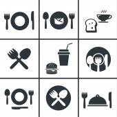 Food Center, Food Court,fork and spoon icon set — Stock Vector